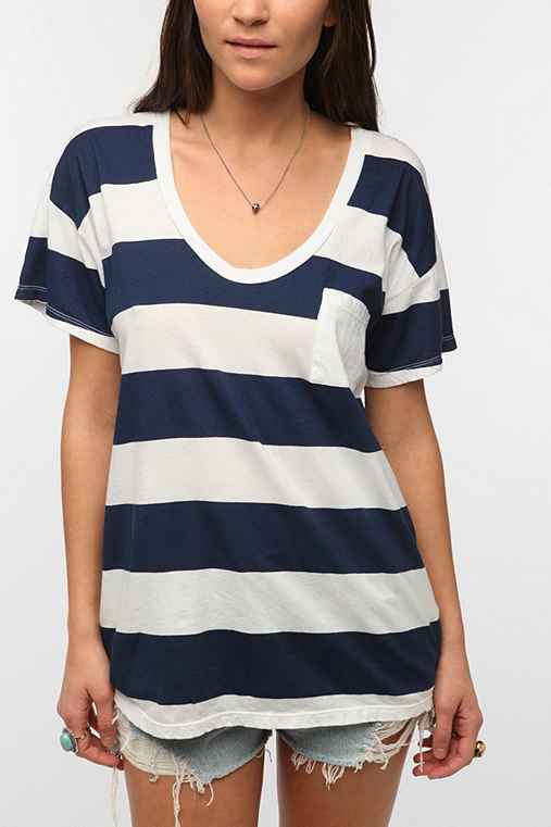 Truly Madly Deeply Striped Deep Scoopneck Tee