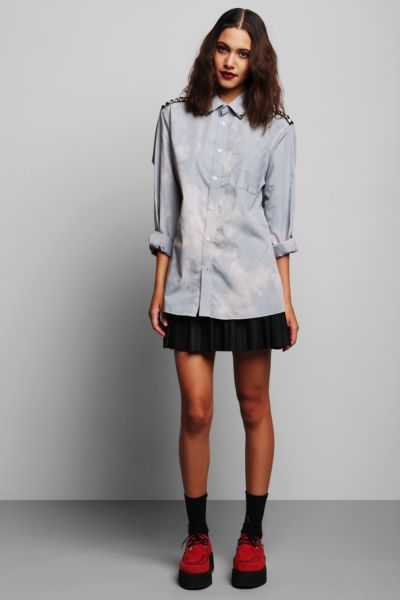 Rag Union x Urban Renewal Bleached Studded Button-Down Shirt