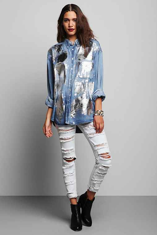 Rag Union x Urban Renewal Foiled Denim Shirt