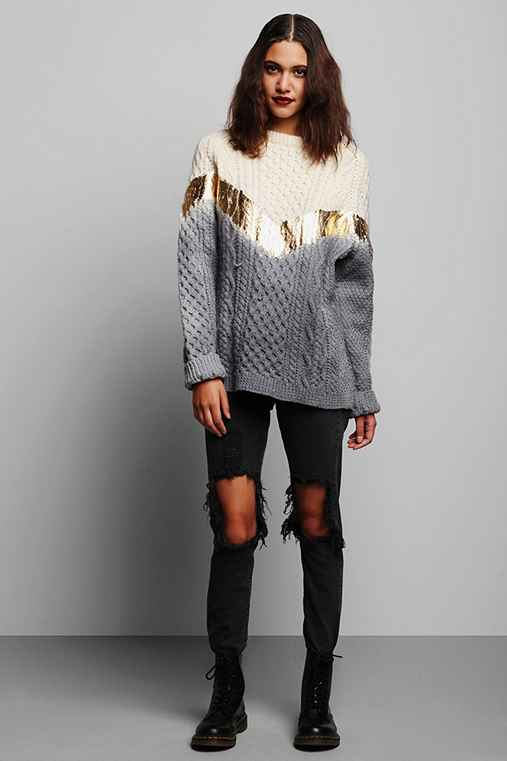 Rag Union x Urban Renewal Ombre Foiled Fisherman Sweater from urbanoutfitters.com