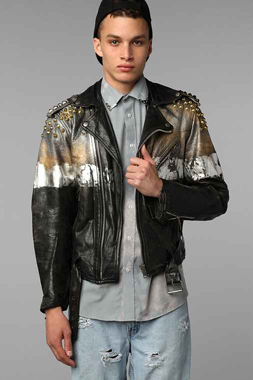 Rag Union x Urban Renewal Leather Studded Foiled Biker Jacket