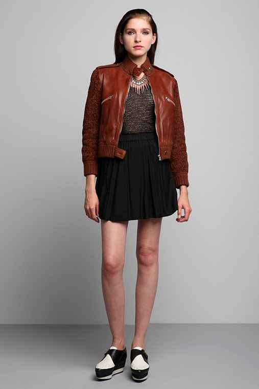 Vintage '70s Courreges Brown Leather Mix Jacket