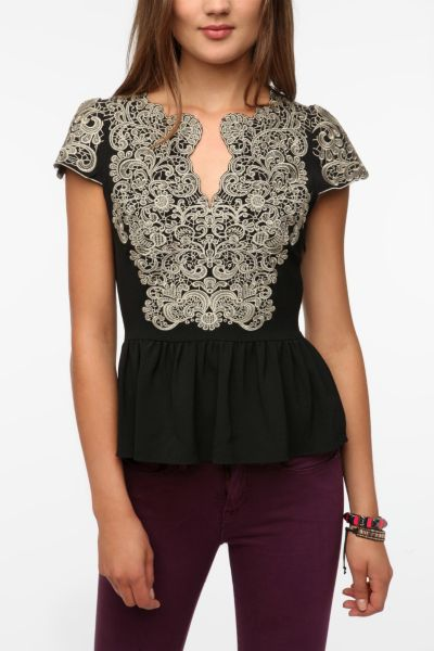 Pins and Needles Embroidered Cap-Sleeve Blouse