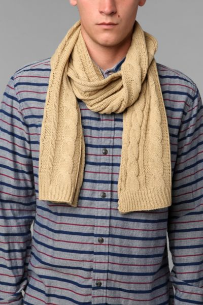 Solid Cable Knit Scarf