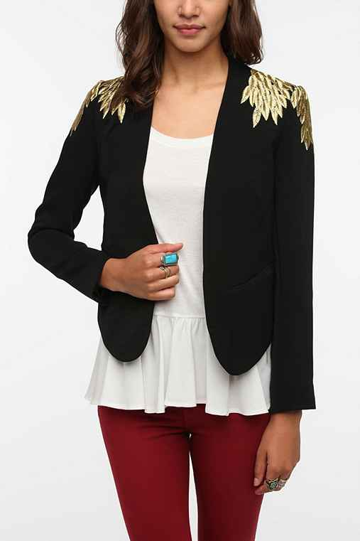 Sparkle & Fade Embroidered Leaves Blazer