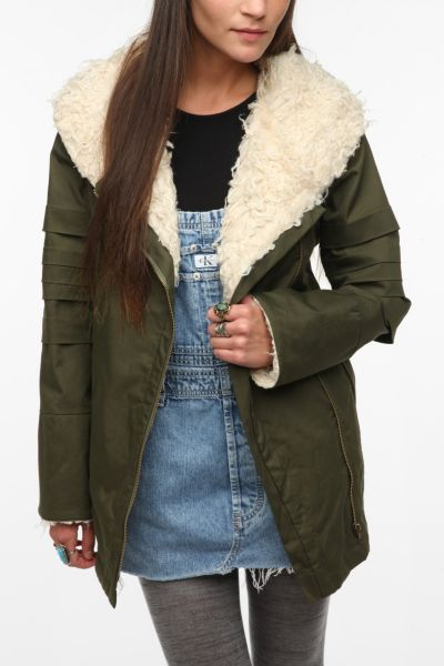 Staring at Stars Convertible Sherpa-Lined Coat