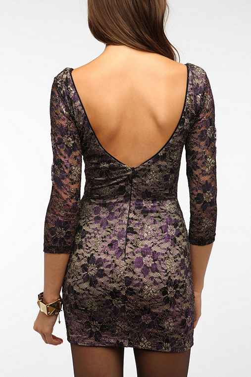 Dress The Population Metallic Lace Bodycon Dress