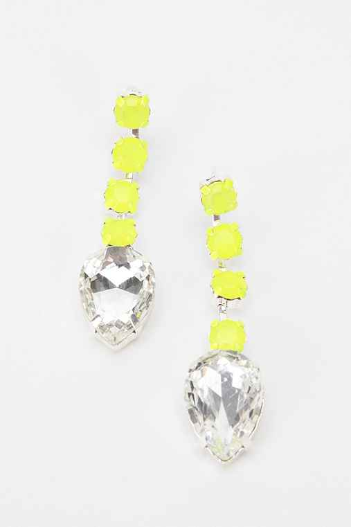 Rocks Paper Metal Linear Crystal Earring