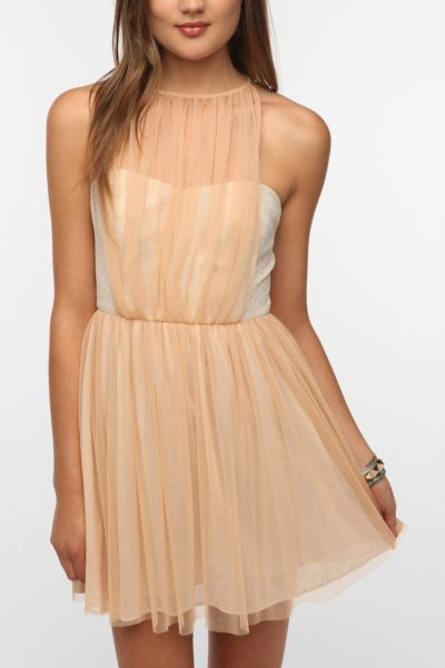 Pins and Needles Tulle Overlay Halter Dress
