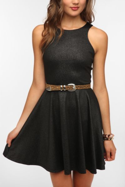 Sparkle & Fade Carved Shoulder Metallic Circle Dress
