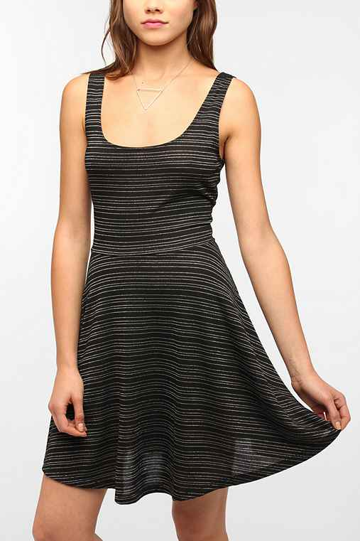 Sparkle & Fade Knit Metallic Stripe Circle Dress