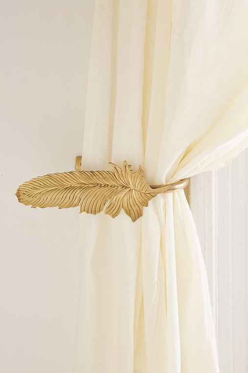 Magical Thinking Feather Curtain Tie-Back,GOLD,ONE SIZE