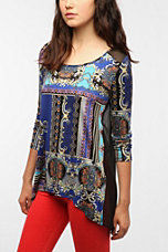 Sparkle & Fade Key Print High/Low Long-Sleeved Top