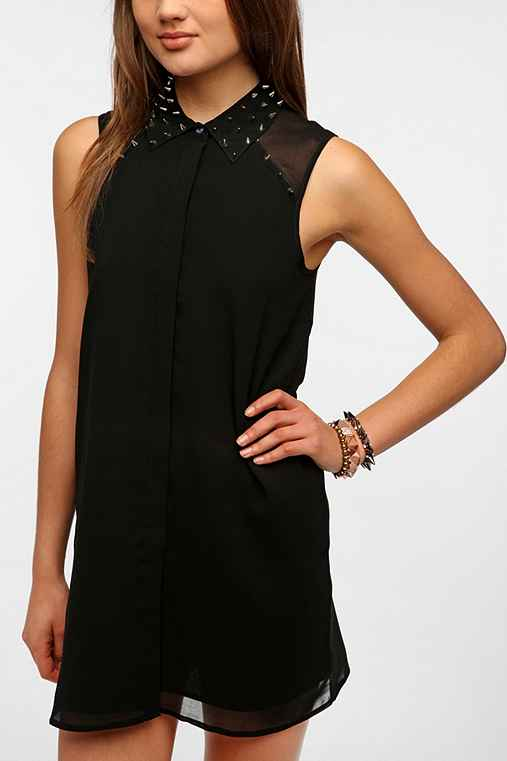 Sparkle & Fade Spiked Collar Chiffon Shirtdress