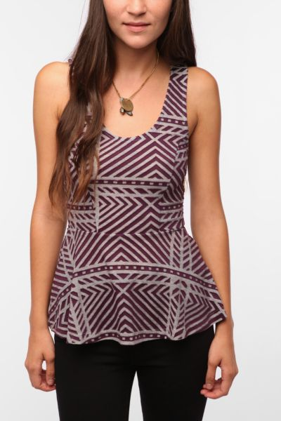 Pins and Needles Textured Peplum Tank Top