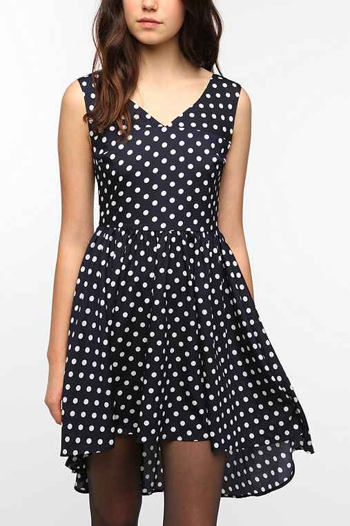 Pins and Needles Silky Polka Dot Open Back Dress