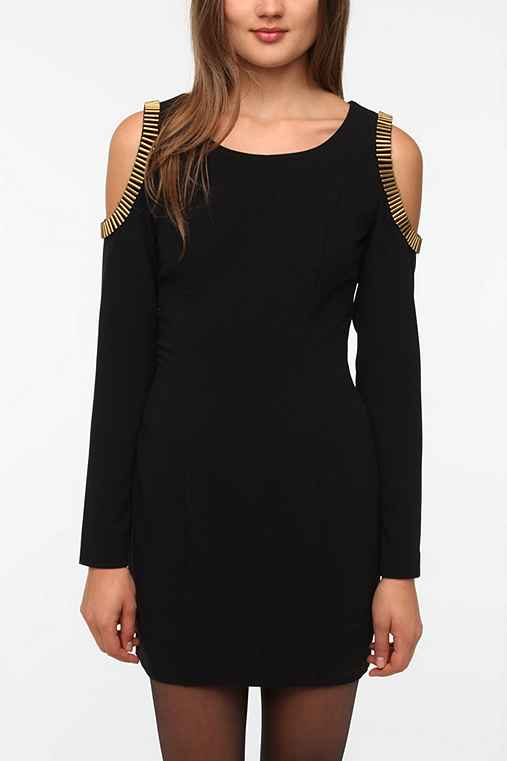 Silence & Noise Metallic Shoulder Dress