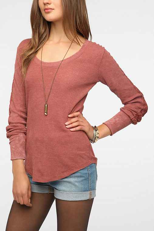 Threads 4 Thought Lace-Sleeve Acid-Wash Thermal