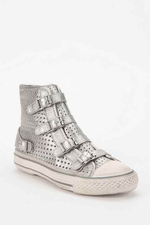 Ash Multi-Buckle Star-Cut Metallic Leather High-Top Sneaker