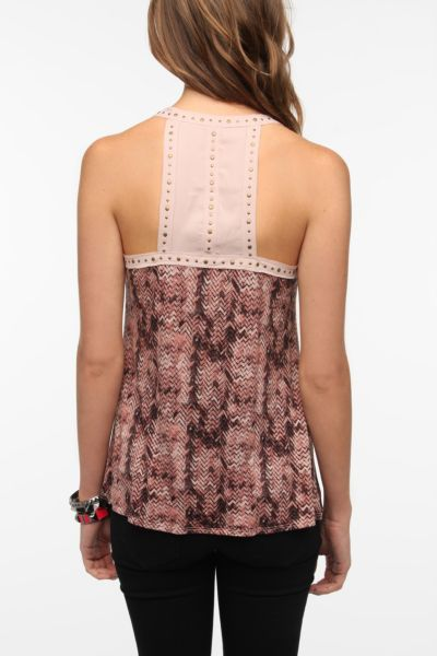Sparkle & Fade Studded Printed Tank Top