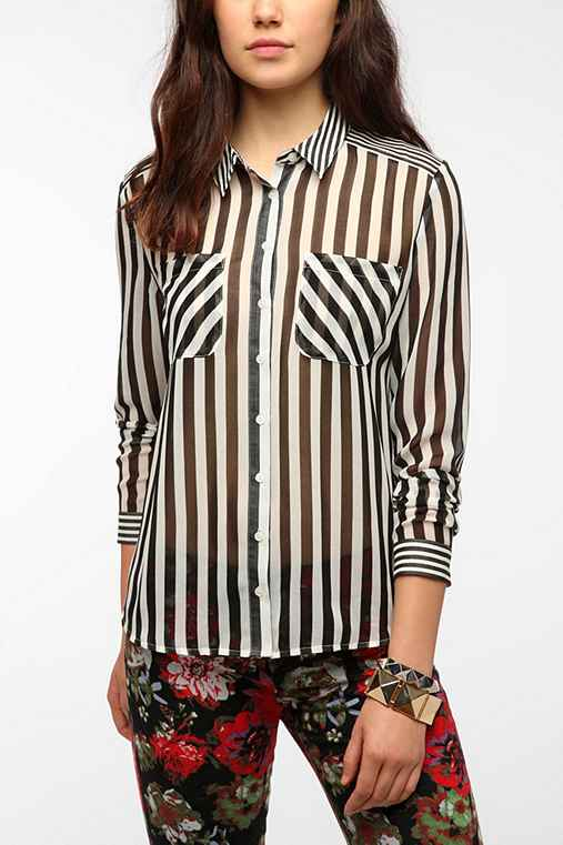 Sparkle & Fade Chiffon Multi Stripe Shirt