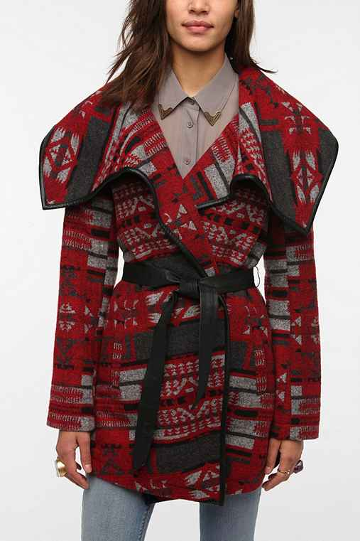 BB Dakota Geo Print Wrap Coat
