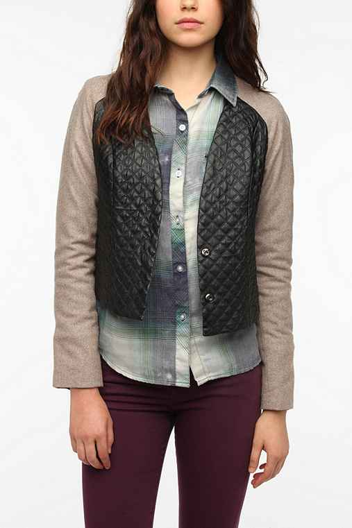 Sparkle & Fade Quilted Faux Leather Mix Jacket