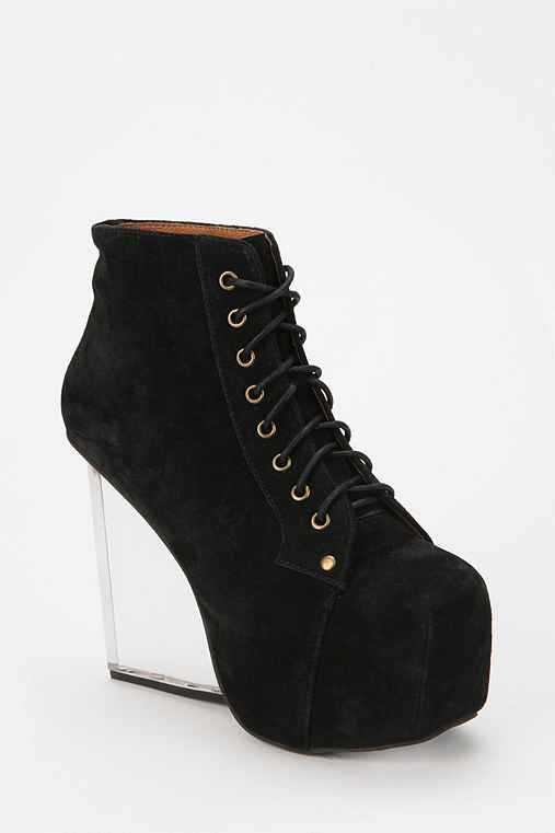 Jeffrey Campbell Dina Clear Wedge Suede Boot
