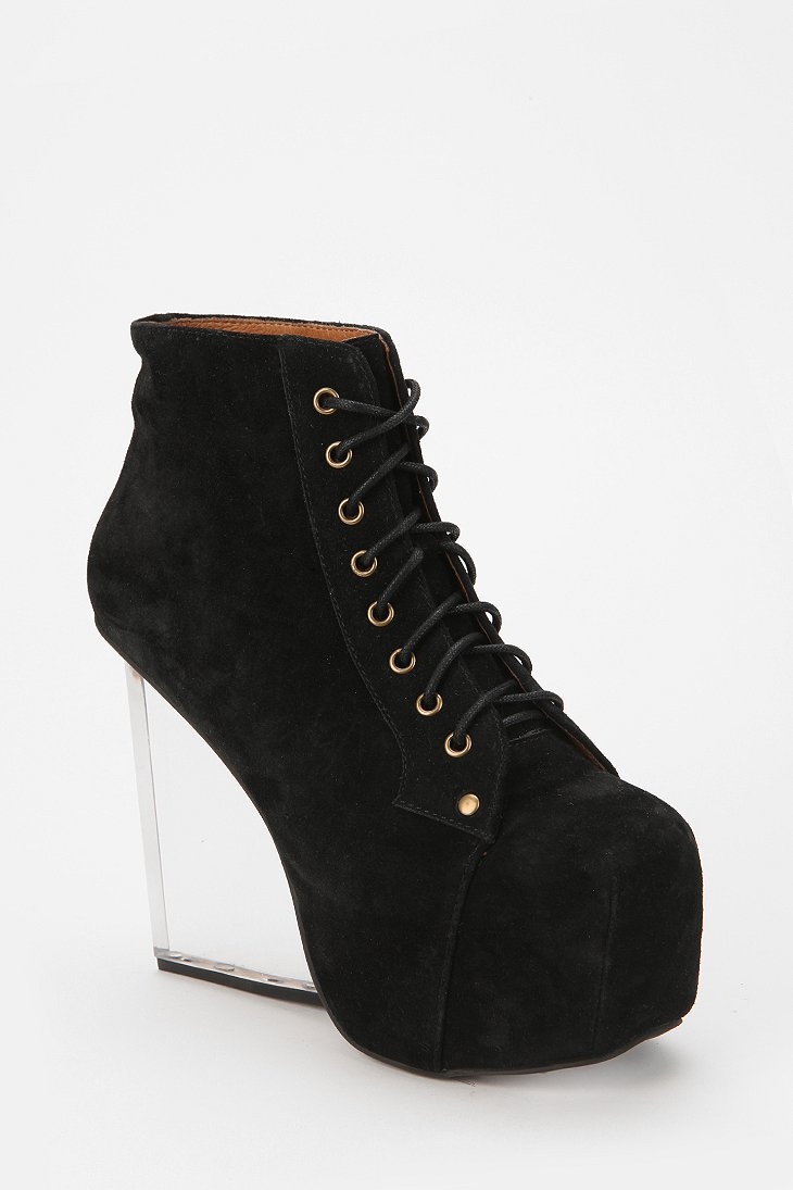 jeffrey cbell dina clear wedge suede boot