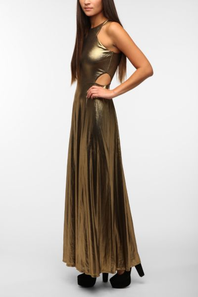 Lucca Couture Liquid Gold Maxi Dress