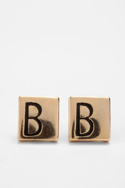 Diament Jewelry for Urban Renewal Vintage Square Initial Stud Earring