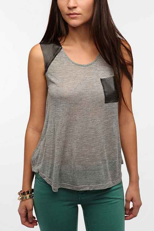 Sparkle & Fade Faux Leather Muscle Tee
