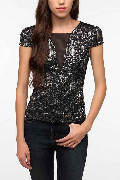 Pins and Needles Jacquard Lace Top
