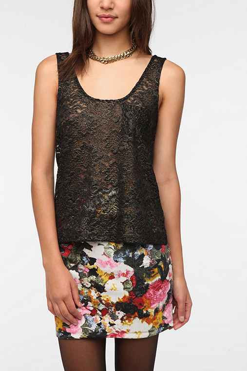 Pins and Needles Metallic Lace Tank Top