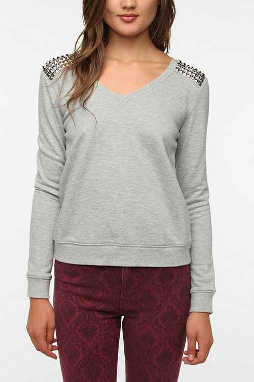 Sparkle & Fade Spiked Shoulder Sweatshirt