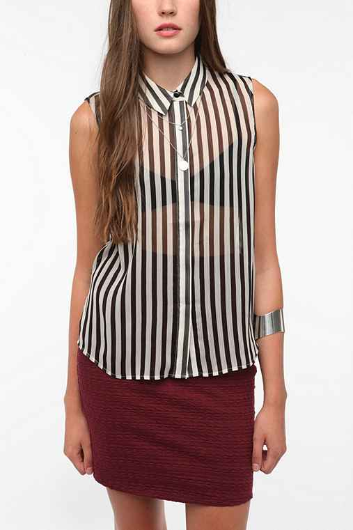 Sparkle & Fade Sleeveless Striped Blouse