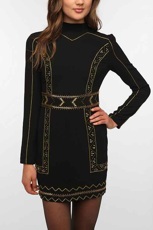 Sparkle & Fade Baroque Embellished Mock Neck Dress