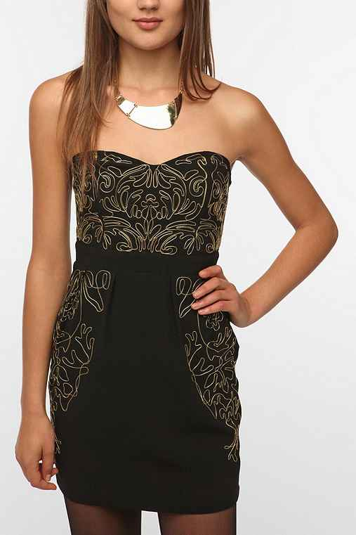Sparkle & Fade Metallic Embroidered Strapless Dress