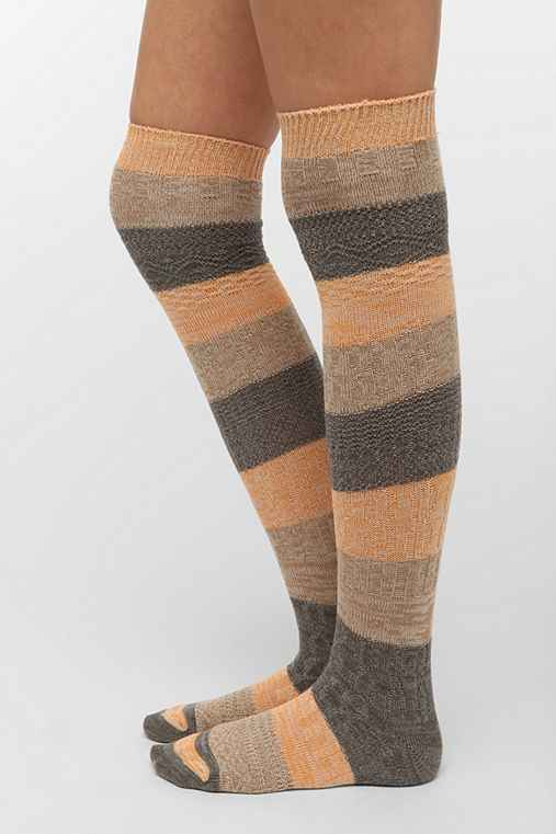 Mixed Knit Over-The-Knee Sock