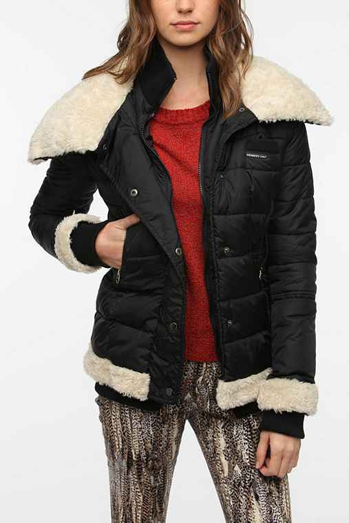 Members Only Sherpa-Trim Puffer Jacket
