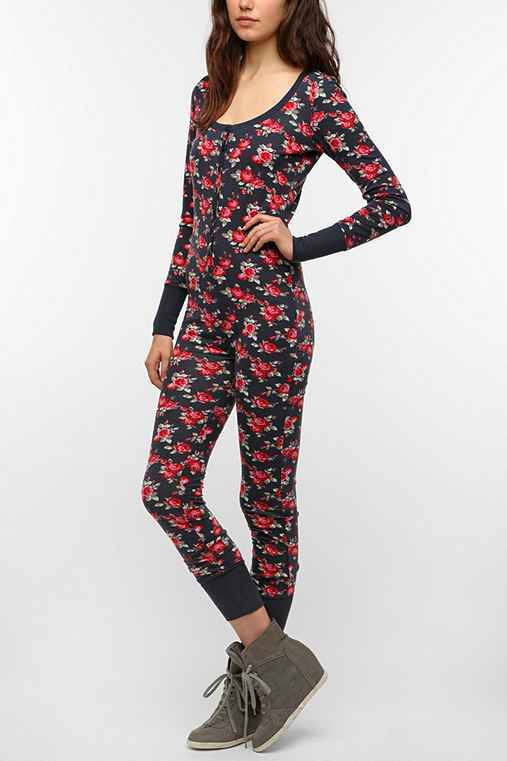 BDG Floral Button-Up Long-Sleeved Jumpsuit