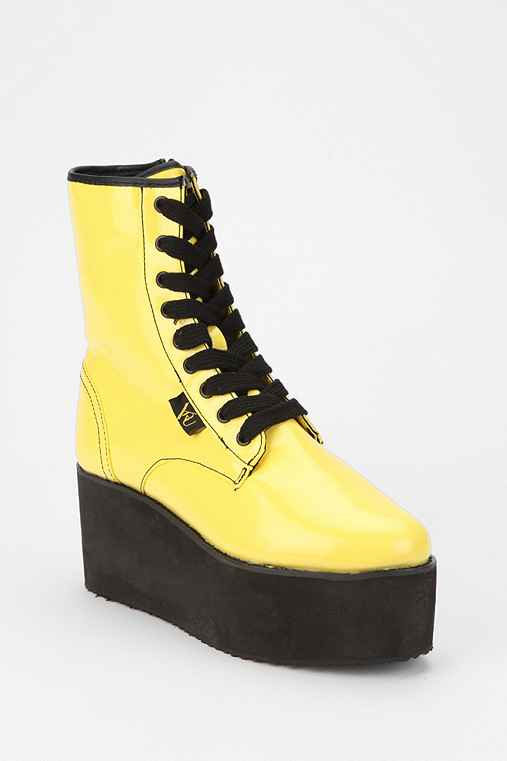 Y.R.U. Bloq Lace-Up Patent Flatform-Boot