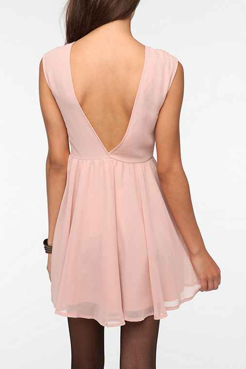 Pins and Needles Embroidered Deep V-Back Dress