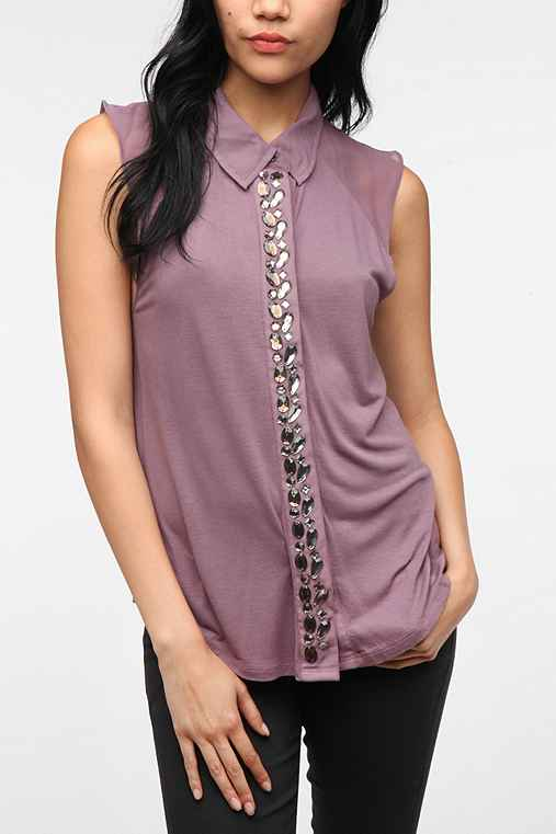Silence & Noise Embellished Button-Down Shirt
