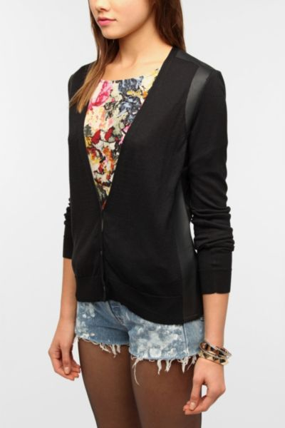 Sparkle & Fade Faux Leather Inset Cardigan