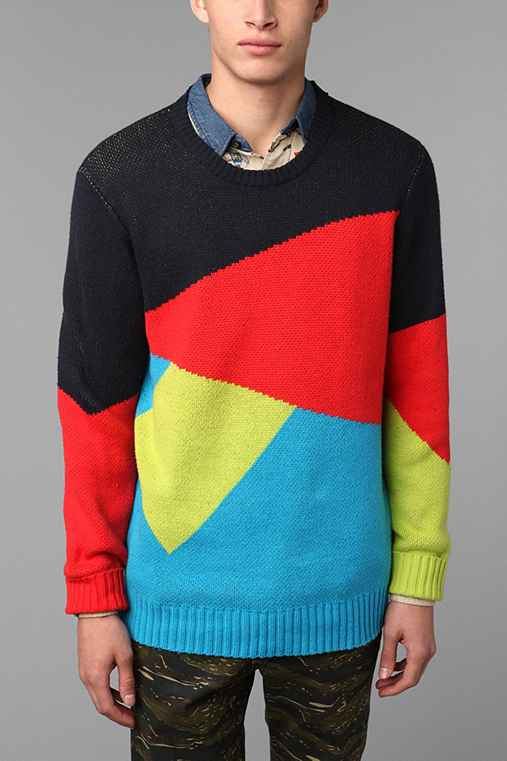 Blue Squares Geo Pieced Crew Sweater