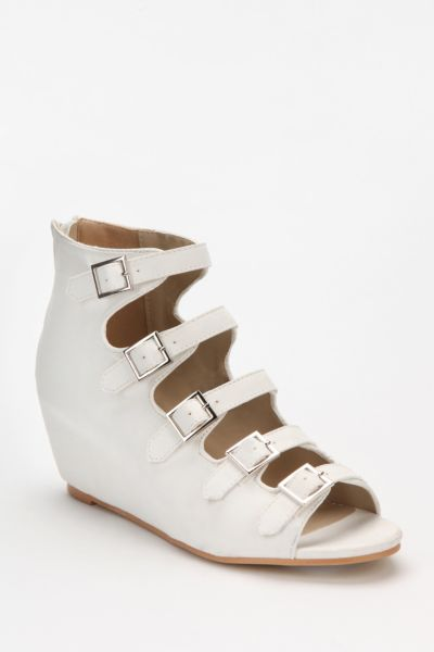 Deena & Ozzy Stacked Buckle Peep-Toe Wedge