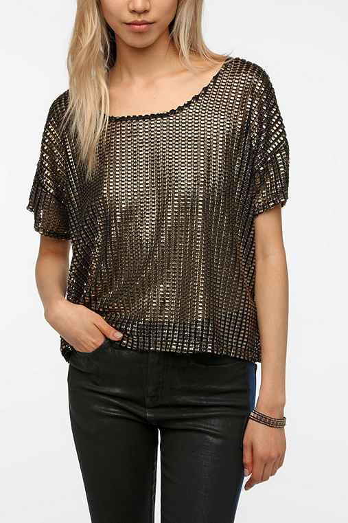 Sparkle & Fade Metallic Grid Tee