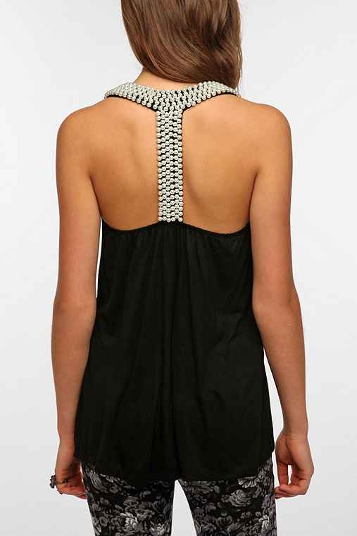 Pins and Needles Pearl-Embellished T- Back Tank Top