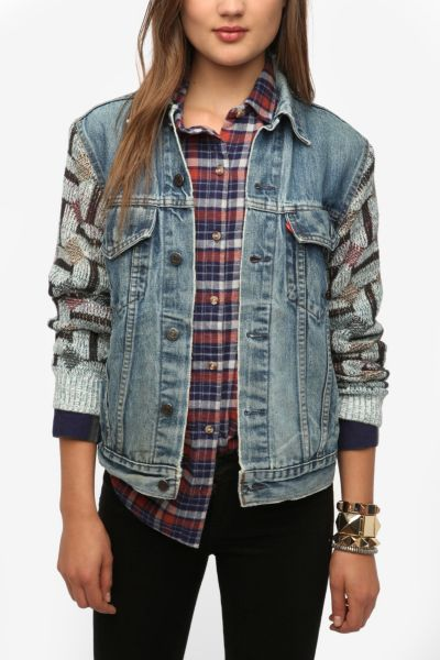 Urban Renewal Sweater-Sleeve Denim Jacket